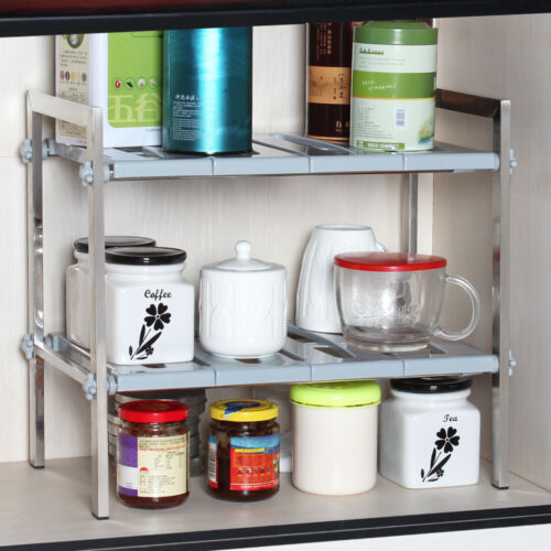 Under Sink Organizer Shelf Expandable Kitchen Shelves Adjust