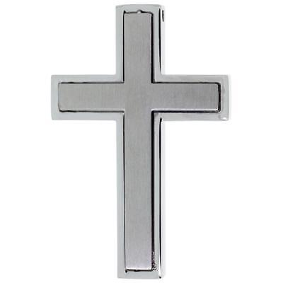 Stainless Steel Frosted Finish Center Latin Cross Pendant, Free Bead Ball Chai Frost Finish Pendants