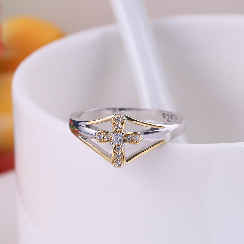 Two Tone 925 Silver Party Rings For Women Cross Shaped Cubic