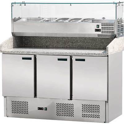 PP2203614 Pizzatisch Pizzatheke Pizzakühltisch mit Kühlaufsatzvitrine 3 Türig