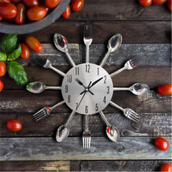Novelty Stainless Wall Clock Cutlery Kitchen-ware Spoons Forks Clock Home Decor