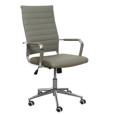 Office Chair High Back Pu Computer Height Adjustable Rolling Swivel Gray