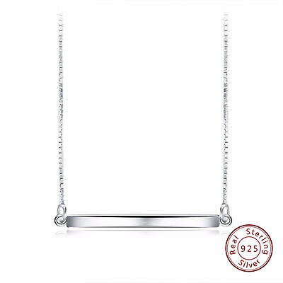 Personalized Necklace 925 Sterling Silver Bar Pendant Necklace for Women Jewelry