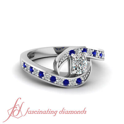 1 Carat Cushion Cut Diamond & Blue Sapphire Pave Set Engagement Ring 14K SI2 (2 Carat Cushion Cut Pave Engagement Ring)