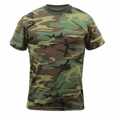 (WOODLAND CAMOFLAGE ROTHCO 8777 MENS TSHIRT ARMY CAMO T-SHIRT SIZES XS TO 7X )