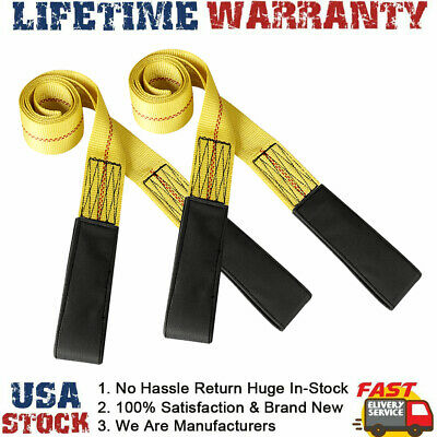 2pc 6ft 2 Lifting Sling Straps With Heavy Duty Flat Loops 10000lbs Nylon Yellow