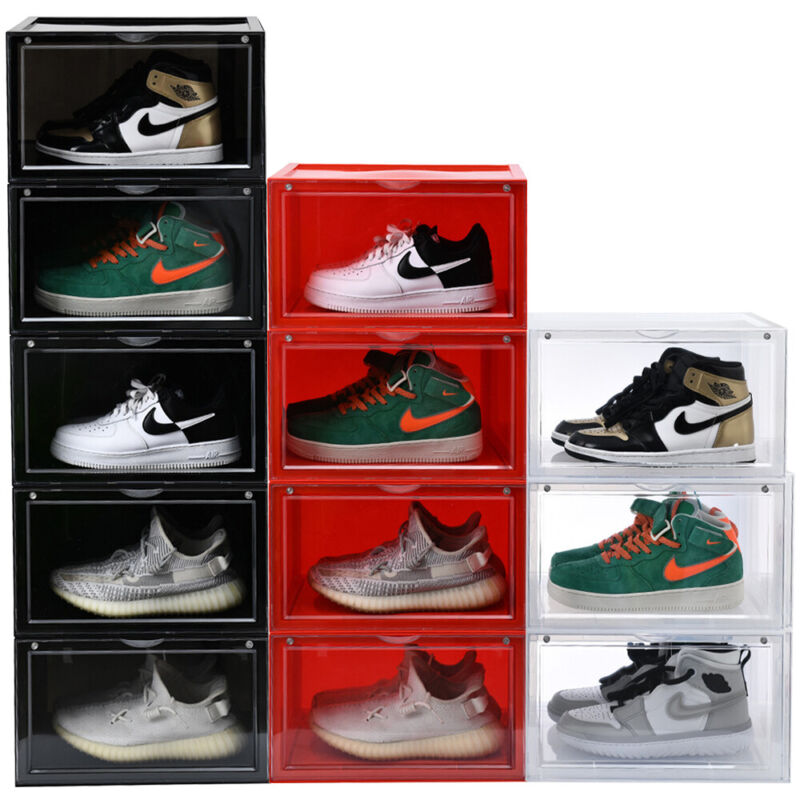 Magnetic Sneaker Storage Box Side Open Heavy Shoe Organizer Stackable Container