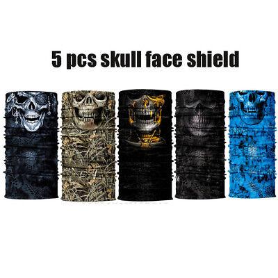 5 PC Skull Face Shield Sun Mask Cycling MULTI-USED Neck Gaiter outdoor Bandana
