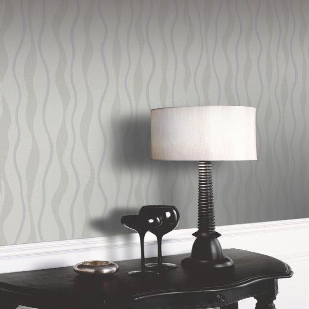 ARTHOUSE IMAGINE GREY AND SILVER GLITTER WAVE QUALITY FEATURE WALLPAPER 887004