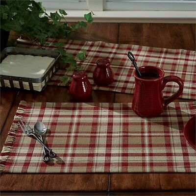 Country Cumberland Placemat Burgundy Ivory Taupe Plaid Cotton Farmhouse