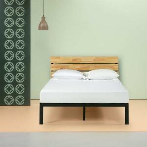 NEW Zinus Sonoma Metal  Wood Platform Bed with Wood Slat Support, Queen Condition: New