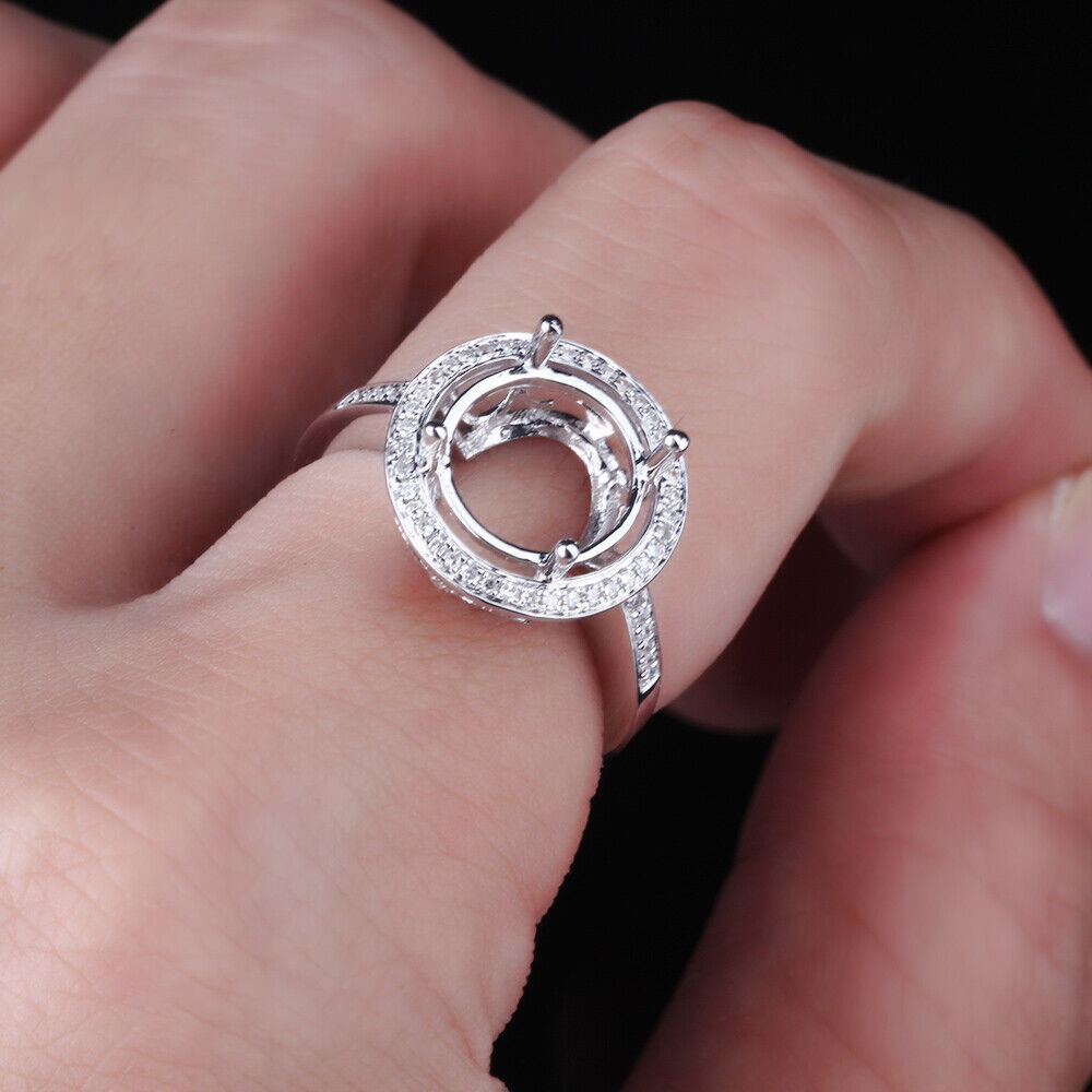 Sale 10K White Gold 10MM Round Cut Semi Mount Diamond Jewelry Fine ...