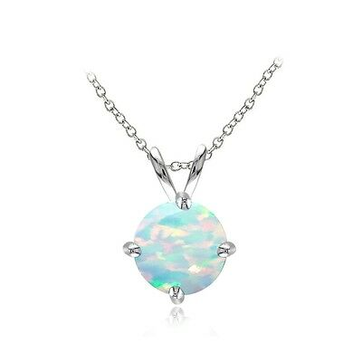 Created White Opal Stone - Sterling Silver Created White Opal 7mm Round Solitaire Necklace