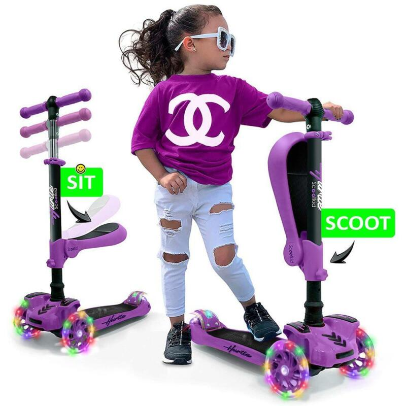 Hurtle ScootKid 3 Wheel Ride On Toy Scooter w/LED Wheels, Purple (Open Box)