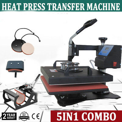 5in1 Heat Press Machine Digital Transfer Sublimation T-Shirt Mug Hat Cap Plate for sale  Canada