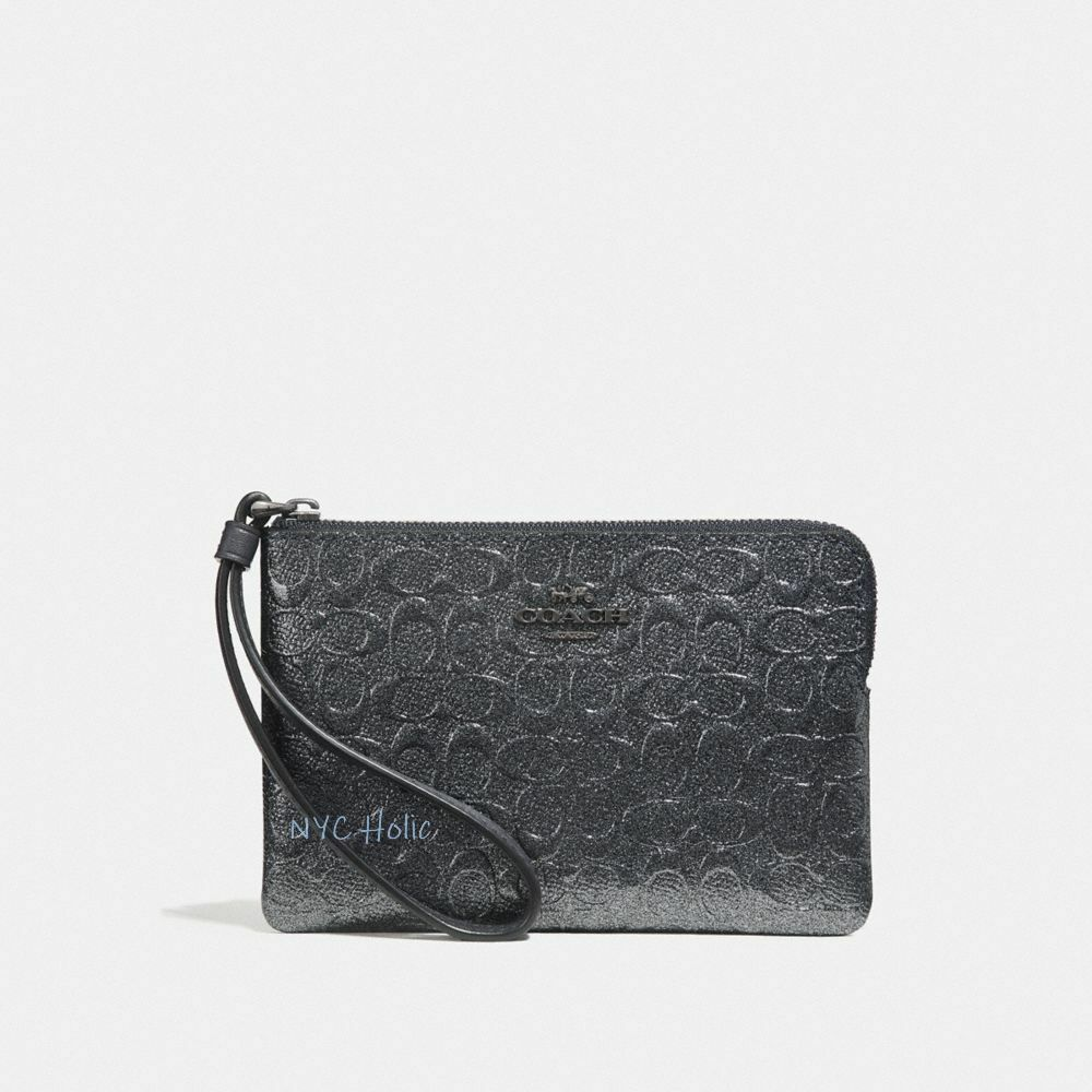 New Coach F58032 F58035 Corner Zip Wristlet With Gift Box New With Tags Charcoal Black Patent