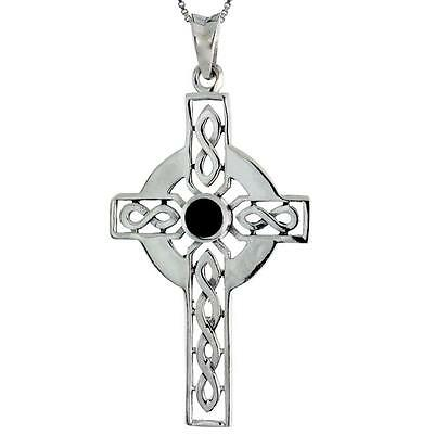Sterling Silver Celtic Cross w/ Jet Stone Pendant, 18