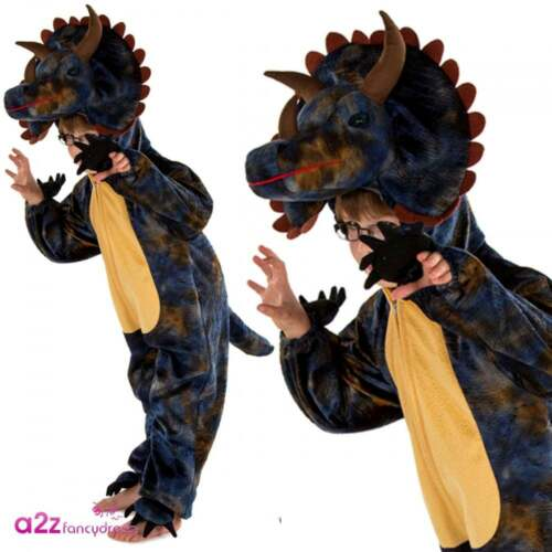 NEW Deluxe Dinosaur Jurassic Jumpsuit Children Unisex Fancy Dress Costume