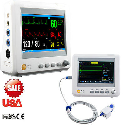 Us Medical 7  Patient Monitor 6 Parameter Ecg Nibp Temp Spo2 Pr Measure Hospital