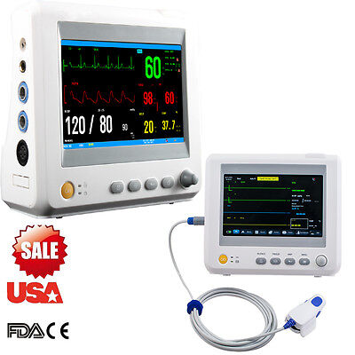 Portable Medical 7 Icu Patient Monitor 6 Parameter Ecg Spo2 Moving Operation Us