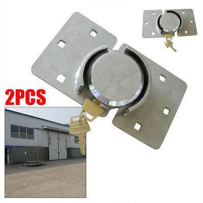 2pcs Durable Steel Garage Shed Door Gate Safety Lock Shackle Padlock 73mm4 Keys