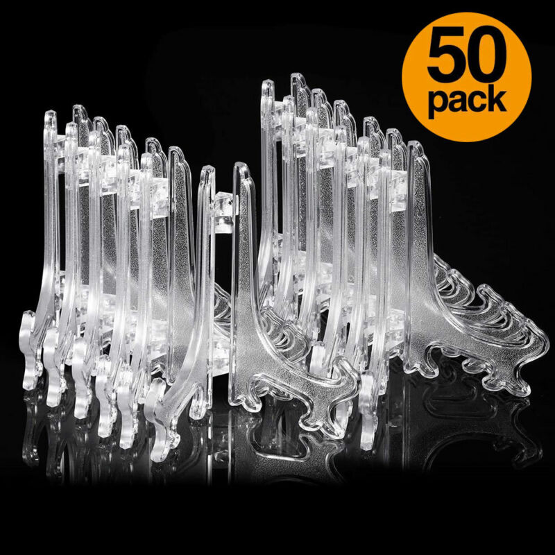 """50-Pack Clear Plastic Mini Easel Stand Display Stand Photo Place Card, 3"""" Tall"""