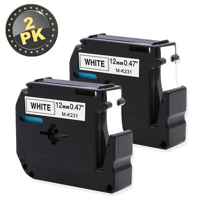 2pk M-k231 Brother P-touch Label Maker Tape 12mm Black On White Mk231 Label Tape