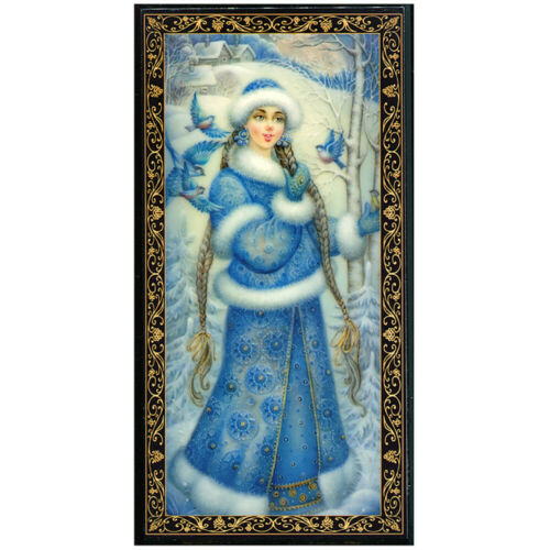 Russian Lacquer Box w/ Snegurochka Snow Maiden Art, New Year Christmas Keepsake