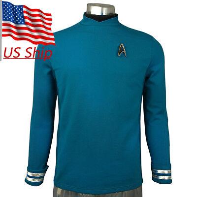 Star Trek Beyond Spock Science Officer Uniform Shirt Cosplay Men's Blue Costume ](Policeman Uniform)