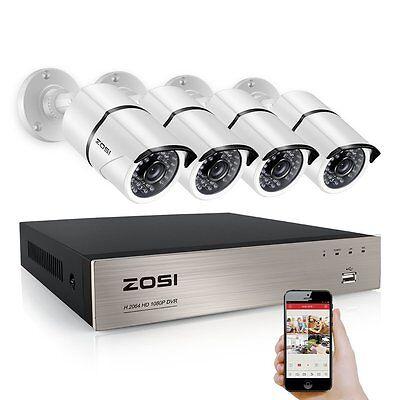 ZOSI 1080P 8CH 2.0MP TVI DVR Outdoor 36IR 100ft CCTV Metal Security Cam System