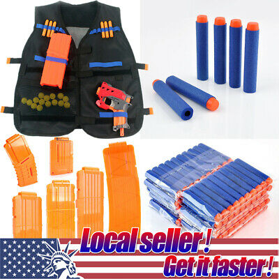 US Tactical Vest Kids Toy Gun Clip Jacket Foam Bullet Holder For Nerf N-strike o