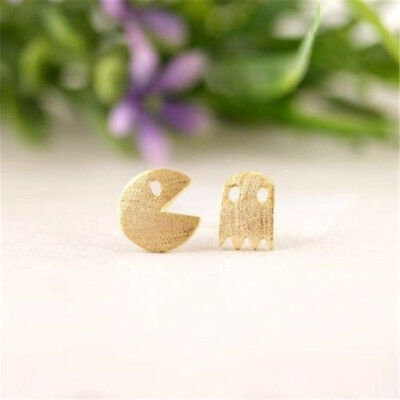 Halloween Pacman Game (Silver Gold Rose Plated PacMan&Ghost Retro Game Earring Stud Christams)