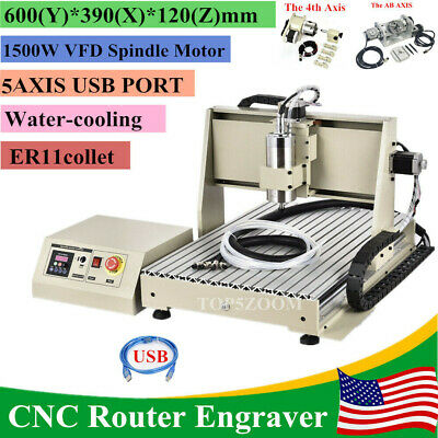 Usb 5axis Cnc 6040 Router Engraving Machine Metal Mill Cutting Advertising 1.5kw