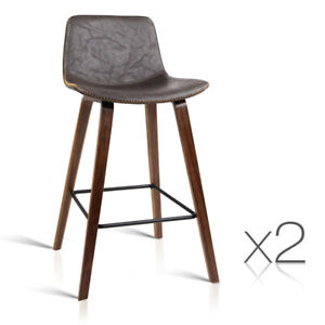 Cool Set Of 2 Wooden Bar Stool Pu Leather Padded Seat With Metal Gmtry Best Dining Table And Chair Ideas Images Gmtryco
