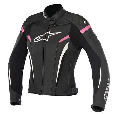 Alpinestars Stella GP Plus R v2 Ladies Leather Motorcycle Jacket Black Fuchsia
