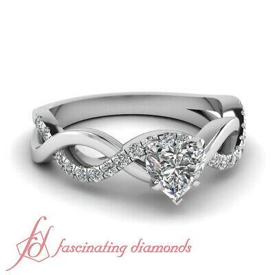 Pave Set 0.80 Ct Heart Shape Diamond Helicoid Engagement Ring For Women VVS2 GIA