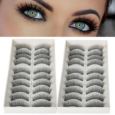 20 Pairs Makeup Handmade Natural Cross Long False Eyelashes Fake Eye Lashes Set