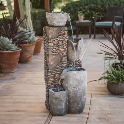 - Outdoor Water Fountain Four Tier Patio Garden Large Rock Design  LED Lights