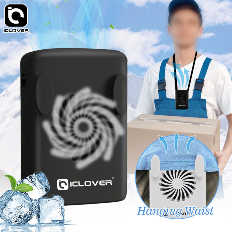 Personal Portable Rechargeable Hanging Waist Clip Fan Power Bank Outdoor Cooling