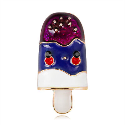 Ice cream Rhinestone Crystal Gold Plated Oil Painting Food Scarf Pin and Brooch Crystal Ice Cream