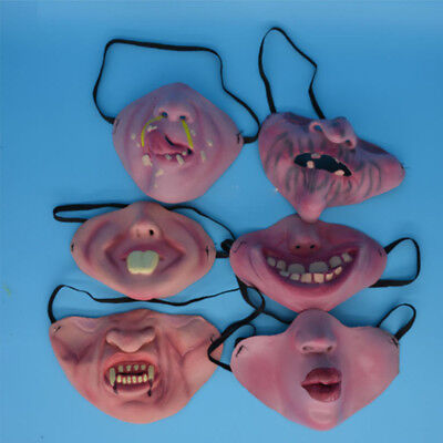 Costume Half Face Woman Man Fool's Day Clown Latex Mask Party Horrible Scary](Scary Jester Face)