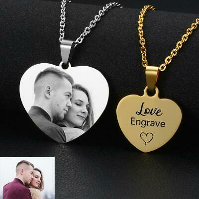 Custom Name Photo Necklace Personalized Laser Engraved Heart Style Pendants Gift Laser Engraved Pendants