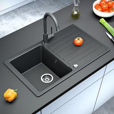 Granit Spüle Küchenspüle Einbauspüle Auflage Spülbecken Küche reversibel Schwarz