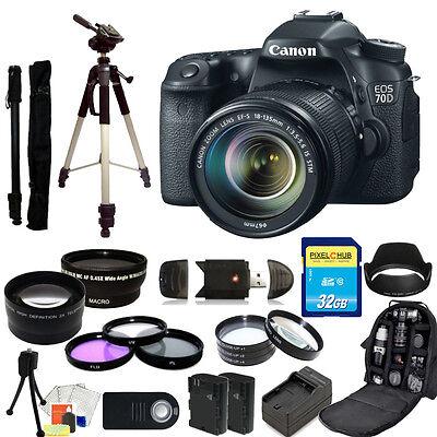 Canon EOS 70D DSLR Camera with 18-135mm STM f/3.5-5.6 Lens MEGA BUNDLE!!