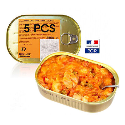 (Lot of 5) Canned Chicken Curry Emergency Food French MRE Indoor Outdoor