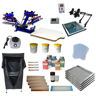 4 Color 1 Station Screen Printing Kit With Exposure Flash Dryer Diy Tools