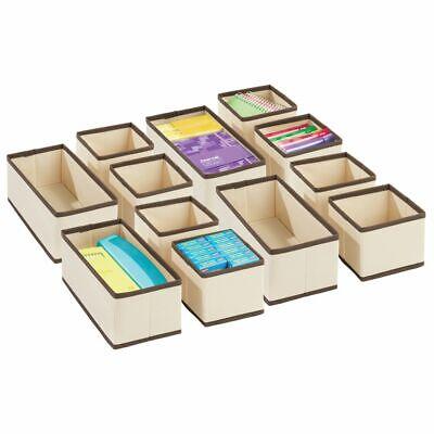 Mdesign Fabric Home Office Desk Drawer Storage Organizer Set Of 12 Creambrown