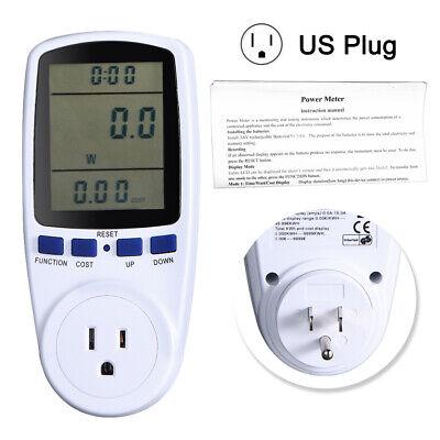 Lcd Power Meter Consumption Energy Analyzer Watt Amp Volt Electricity Monitor Us