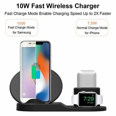 3 in 1 Wireless Charger Dock Stand iWatch Charging Station For iPhone 11 X XR 8