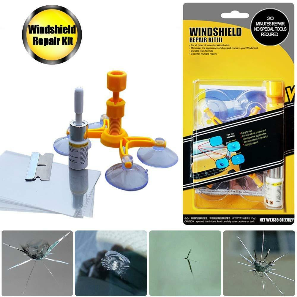 Windshield Repair Kit for Chips and Cracks, Bulls-Eye, Spider Web, Star-Shaped